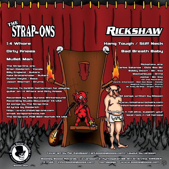 "The Strap-ons / Rickshaw - Split (7"" vinyl, booze004, back sleeve, 500 copies)"