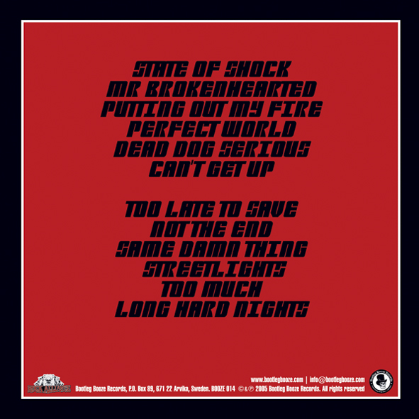 The Deadbeats - Long Hard Nights (LP vinyl, booze014, back sleeve, 500 copies) (CD, rocka002, digipak, back sleeve, 1000 copies)