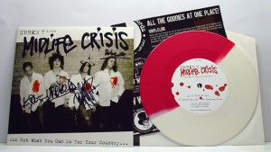 "Urrke T & The Midlife Crisis - Ask Not What You Can Do For Your Country… (7"" vinyl, booze016, boozers club version, 50/50 red/white vinyl, 200 copies. Those who signed up as members before this release got a signed copy)"
