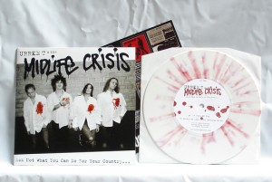 "Urrke T & The Midlife Crisis - Ask Not What You Can Do For Your Country… (7"" vinyl, booze016, regular version, white vinyl with red splatter, 1800 copies)"