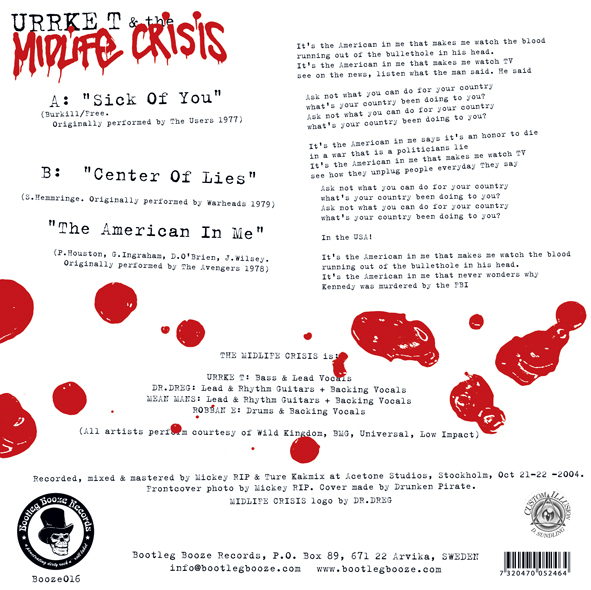 "Urrke T & The Midlife Crisis - Ask Not What You Can Do For Your Country… (7"" vinyl, booze016, back sleeve, 2000 copies)"