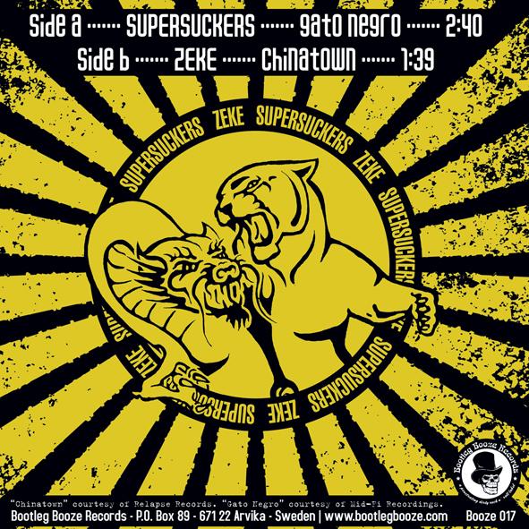 """Supersuckers / Zeke - Split (7"""" split vinyl, booze017, back sleeve, 1000 copies)"""
