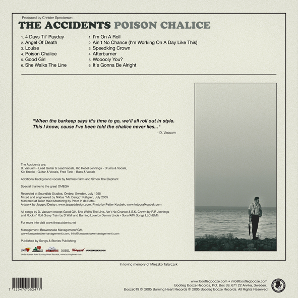 The Accidents - Poison Chalice (LP, booze019, back sleeve, 500 copies)