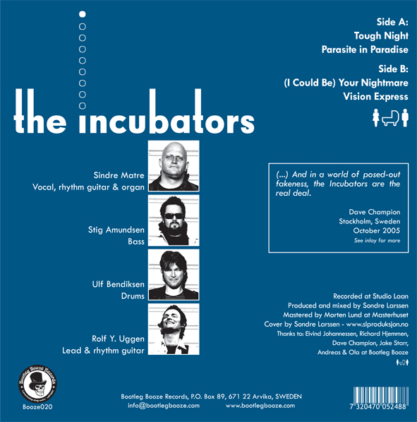 "The Incubators - Vision Express (7"" vinyl, booze020, back sleeve, 500 copies)"