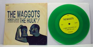 "The Maggots - Nobody Loves The Hulk! (7"" vinyl, booze021, boozersclub version, transparent green vinyl, different sleeve, handnumbered, 75 copies)"