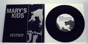 "Mary's Kids - Destroy! (7"" vinyl, booze022, boozersclub version, black vinyl, silver sticker sleeve, 75 copies)"