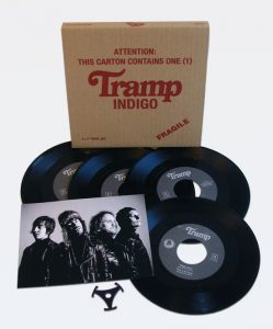 "Tramp - Indigo (4 x 7"" vinyl, booze034, mailorder version comes in a screen printed and hand numbered box with insert and centerhole adapter, 100 copies)"