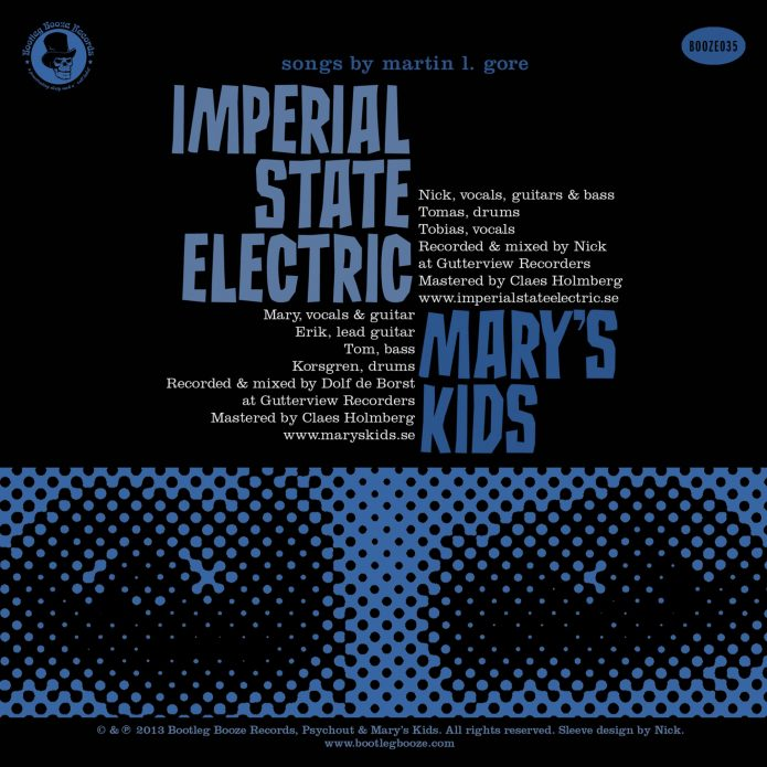 "Imperial State Electric/Mary's Kids - Split (7"" split vinyl, booze035, back sleeve, 1500 copies)"