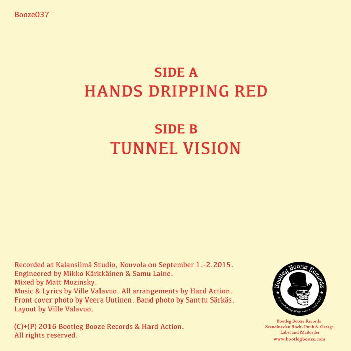 "Hard Action - Hands Dripping Red (7"" vinyl, booze037, back sleeve, 500 copies)"