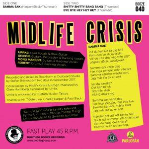 "Midlife Crisis - Samma Sak (7"" vinyl, booze040, back sleeve, 500 copies)"