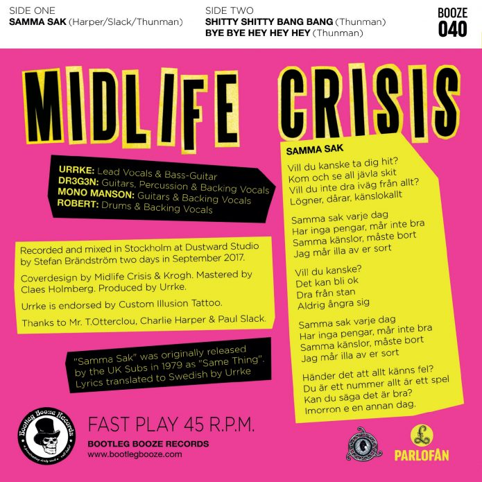 "Midlife Crisis - Samma Sak (7"" vinyl, booze040, back sleeve, 500 copies)"
